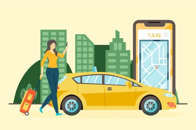 Diseño de concepto de aplicación de taxi