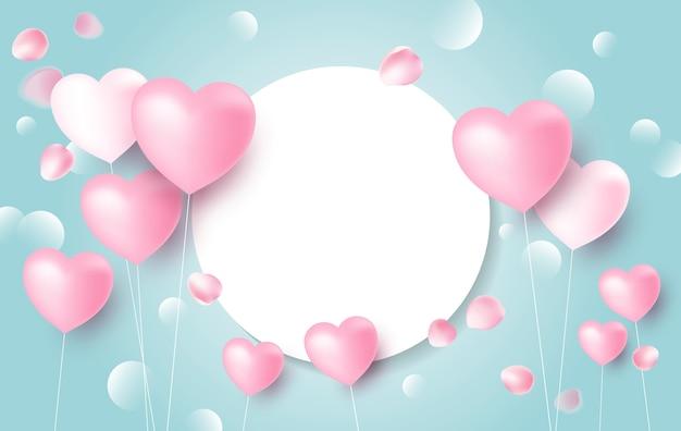 Diseño de concepto de banner de amor de globos de corazón