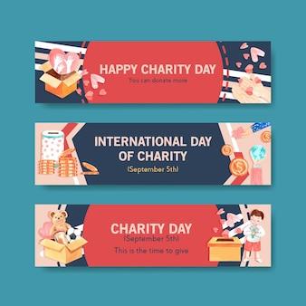 Diseño de concepto de banner del día internacional de la caridad con acuarela publicitaria.