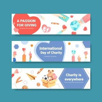 Diseño de concepto de banner del día internacional de la caridad con vector acuarela publicitaria.