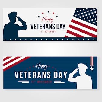 Diseño de concepto de banner del día de los veteranos de elegan