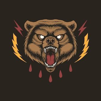 Diseño de concepto de cabeza de oso enojado
