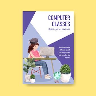 Diseño de concepto de cartel de educación en línea