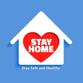 Diseño de concepto de casa con corazón para quedarse en casa
