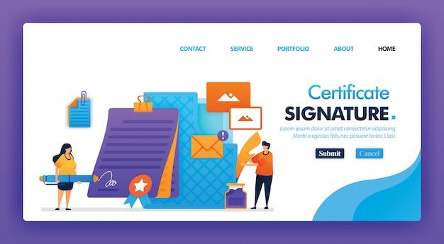Diseño de concepto de certificado de firma para página de inicio.