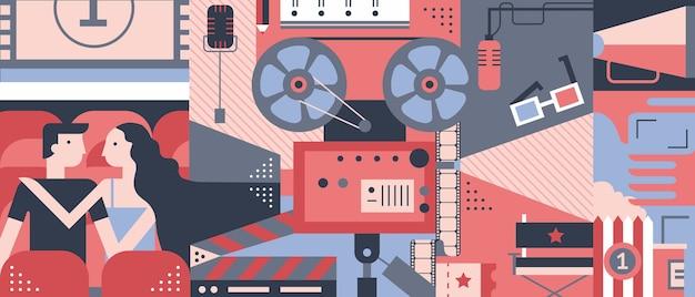 Diseño de concepto de cine en diseño plano.