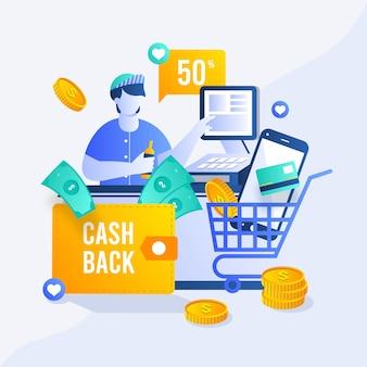 Diseño de concepto de devolución de dinero