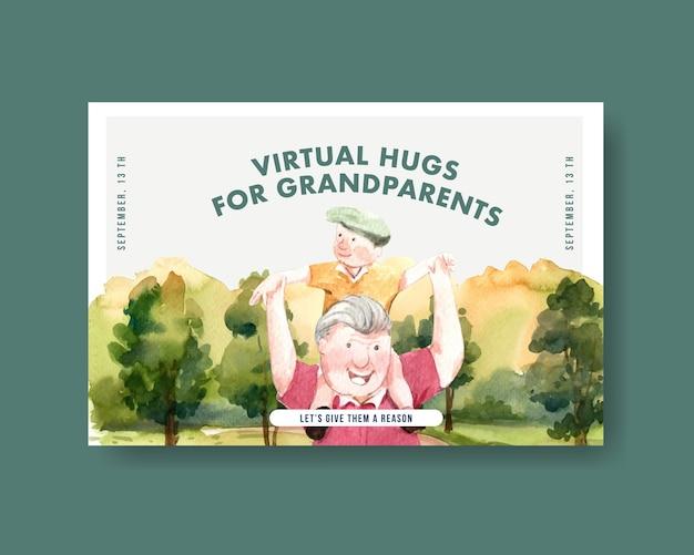 Diseño de concepto del día nacional de los abuelos para redes sociales y vector de acuarela de marketing en línea.
