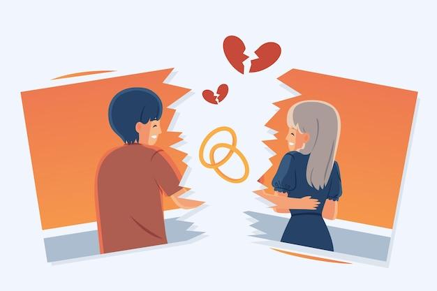 Diseño de concepto de divorcio