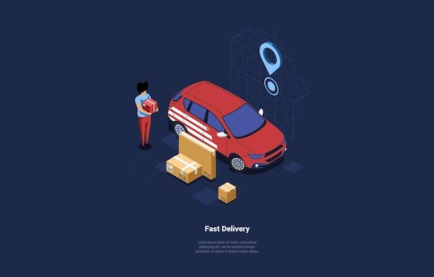 Diseño de concepto de entrega rápida. coche de trabajo rojo, hombre con paquetes y cajas de cartón