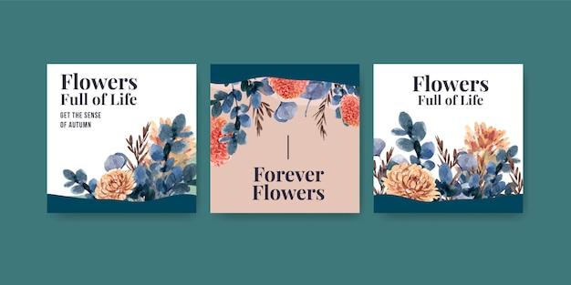 Diseño de concepto de flor de otoño para publicidad y marketing.
