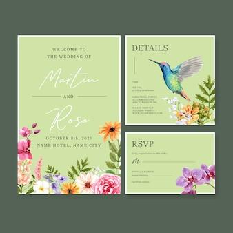 Diseño de concepto de flor de verano para acuarela de plantilla de tarjeta de boda