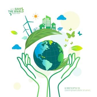 Diseño de concepto de idea creativa de ecología y conservación del medio ambiente