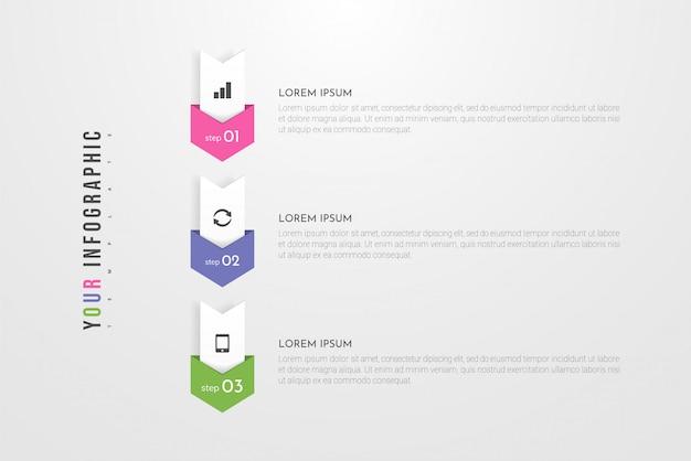 Diseño de concepto de infografía con 3 opciones, pasos o procesos.