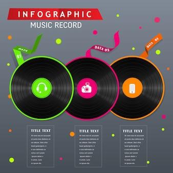 Diseño de concepto infográfico récord de los 80.