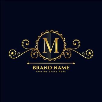 Diseño de concepto de logotipo de lujo letra m