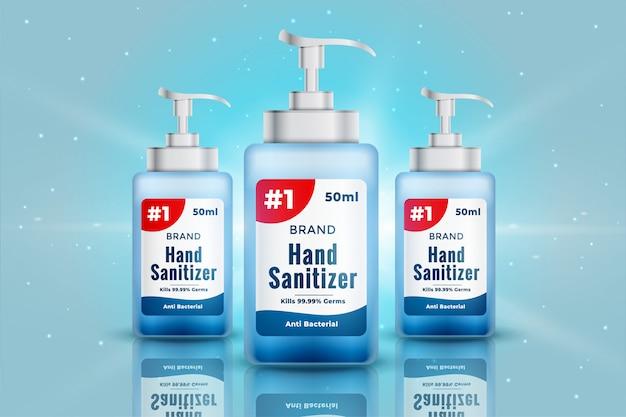 Diseño de concepto de maqueta de botella de desinfectante de manos realista