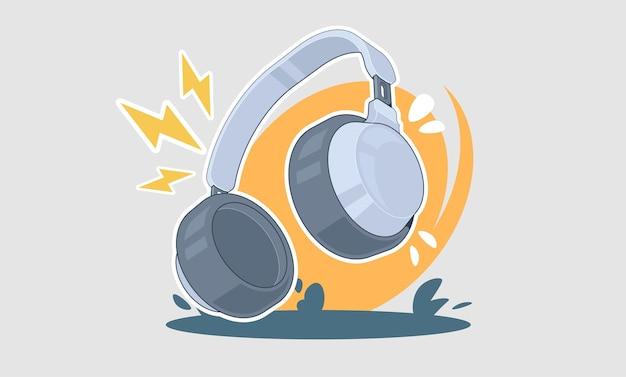Diseño de concepto de música de ilustración de dibujos animados de auriculares