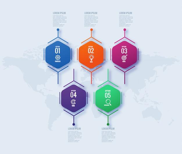 Diseño de concepto de negocio de infografía geométrica