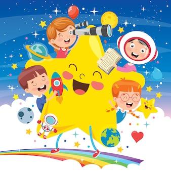 Diseño de concepto con niños divertidos