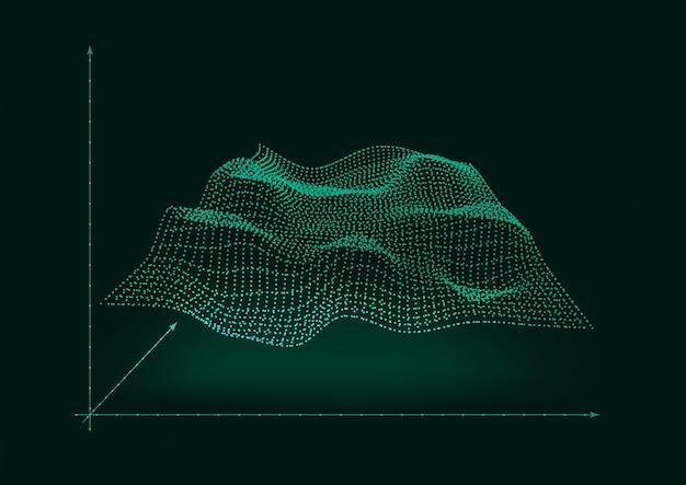 Diseño de concepto de onda que emite en el fondo del espacio