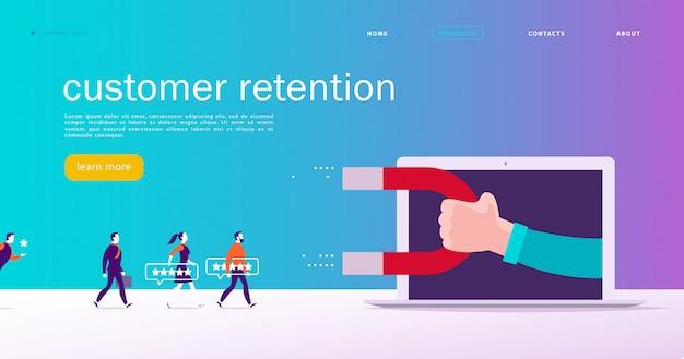 Diseño de concepto de página web, tema de retención de clientes. la gente da una calificación de estrellas retroalimentación positiva, mano humana, imán. plantilla de sitio de aplicación móvil de página de destino. ilustración de negocios mercadotecnia interna