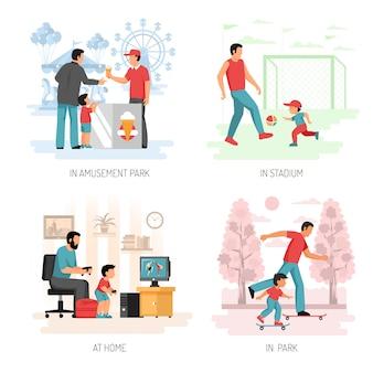 Diseño de concepto plano de niño papá
