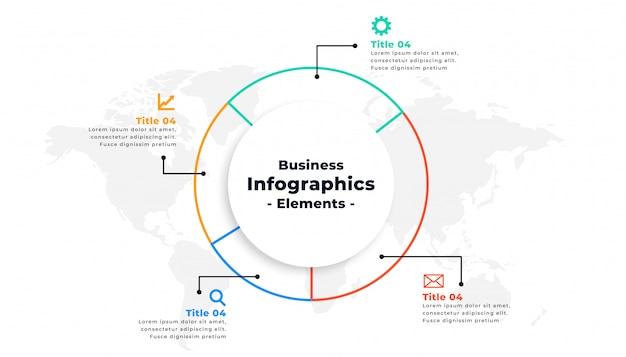 Diseño de concepto de presentación de negocios infográfica de línea delgada