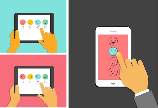 Diseño de concepto de retroalimentación, emoticonos, emoji y sonrisa, escala de emociones