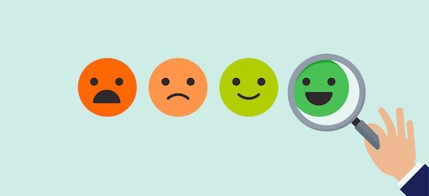 Diseño de concepto de retroalimentación, emoticonos, emoji y sonrisa, escala de emoticonos