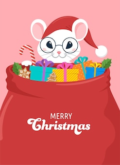 Diseño de concepto de santa mouse, año nuevo chino y feliz navidad