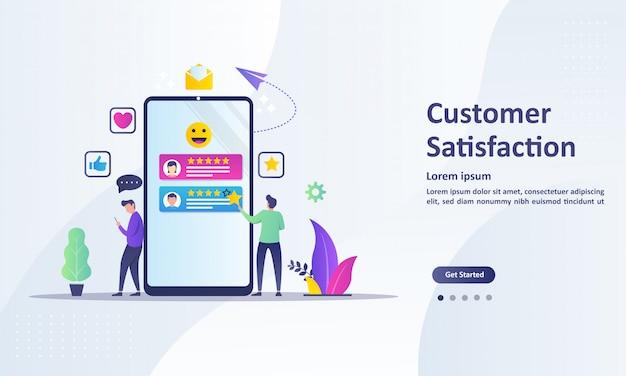 Diseño del concepto de satisfacción del cliente, las personas dan resultados de revisión de votos