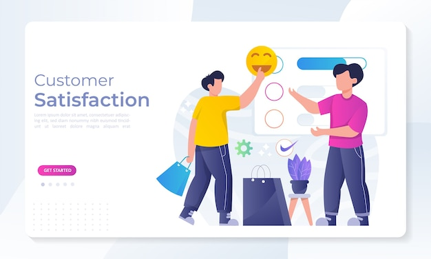Diseño de concepto de satisfacción del cliente, las personas dan resultados de revisión de votos