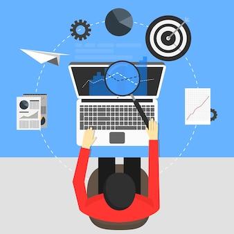 Diseño de concepto de seo, ilustración vectorial