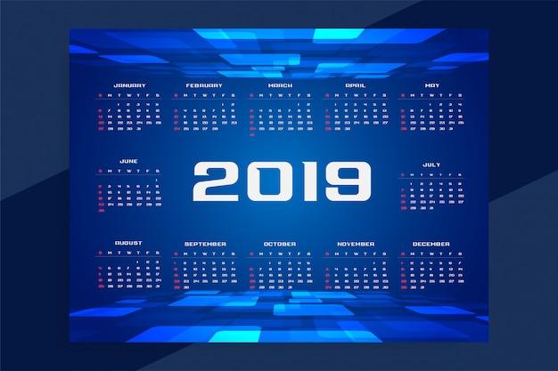 Diseño de concepto de tecnología del calendario 2019