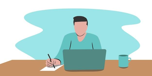 Diseño de concepto de trabajo en casa. hombre independiente que trabaja en la computadora portátil en su casa, vestido con ropa de casa. ilustración de vector aislado sobre fondo blanco. estudio en línea, educación