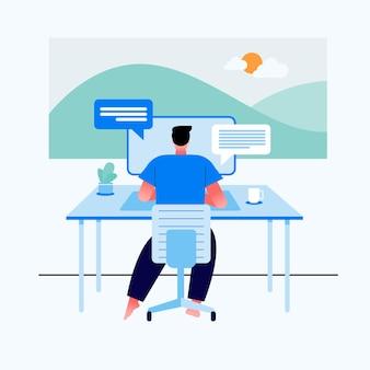 Diseño de concepto de trabajo en casa. hombre independiente que trabaja en la computadora portátil en su casa