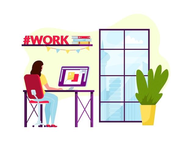 Diseño de concepto de trabajo en casa. mujer independiente que trabaja en la computadora portátil en su casa u oficina.