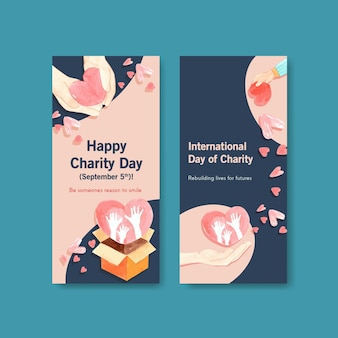 Diseño de concepto de volante del día internacional de la caridad con acuarela de folleto y folleto.