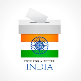 Diseño de concepto de voto de india con bandera