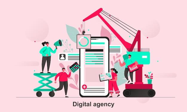 Diseño de concepto web de agencia digital en estilo plano con personajes de personas diminutas