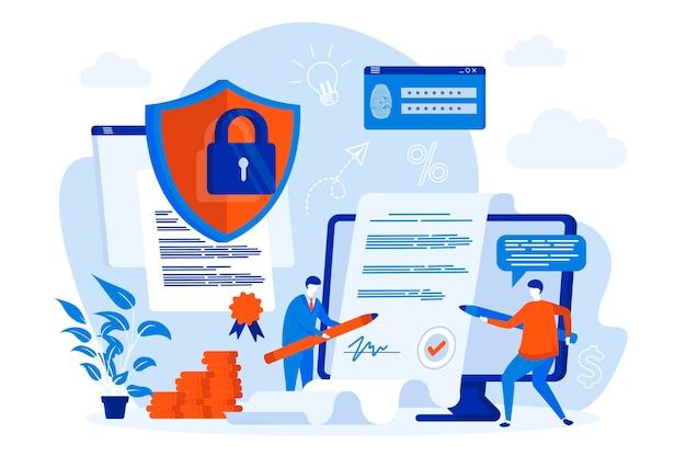 Diseño de concepto web de contrato electrónico con ilustración de personajes de personas