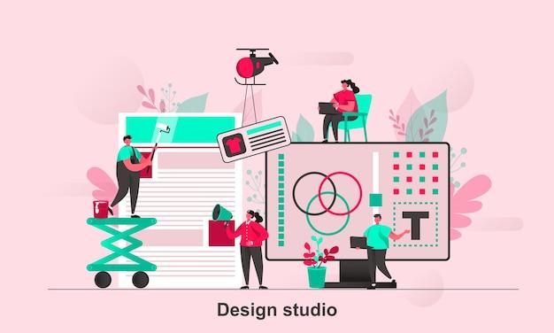Diseño de concepto web de estudio de diseño en estilo plano con personajes de personas pequeñas