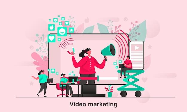 Diseño de concepto web de video marketing en estilo plano con personajes de personas pequeñas