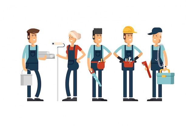 Diseño conceptual genial sobre los personajes del equipo de construcción