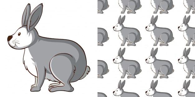 Diseño con conejo gris de patrones sin fisuras