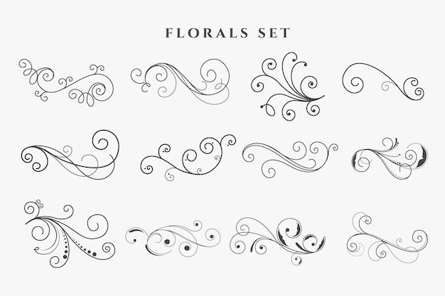 Diseño de conjunto de adornos decorativos florales