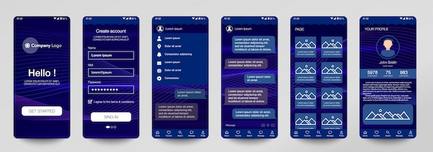 Diseño de conjunto de aplicaciones móviles, ui, ux.