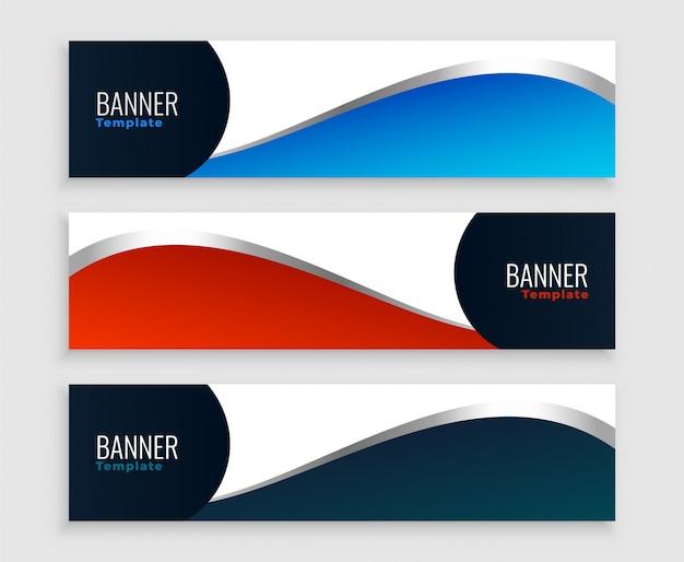 Diseño de conjunto de banners de negocios de onda moderna limpia
