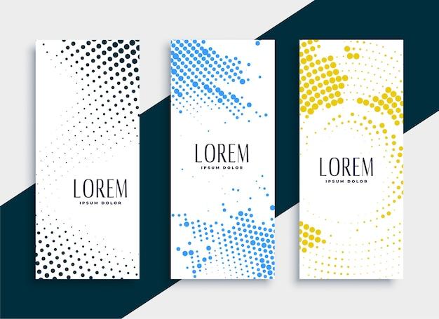 Diseño de conjunto de banners de semitono verticales